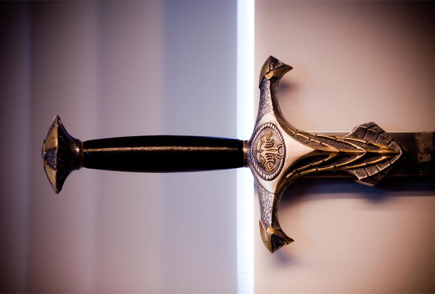 Epées et boucliers offerts par Blizzard aux employés de la société. Année 2000.