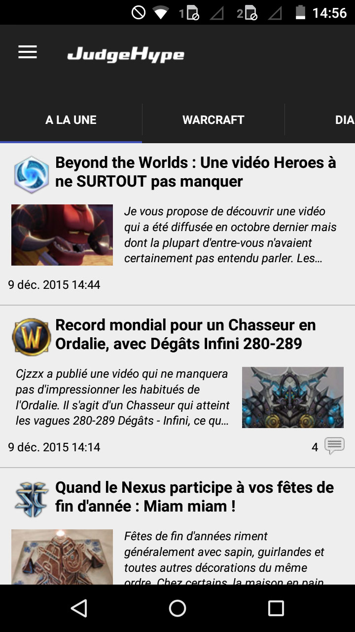 Screenshot de l'application JudgeHype sur un smartphone Android.