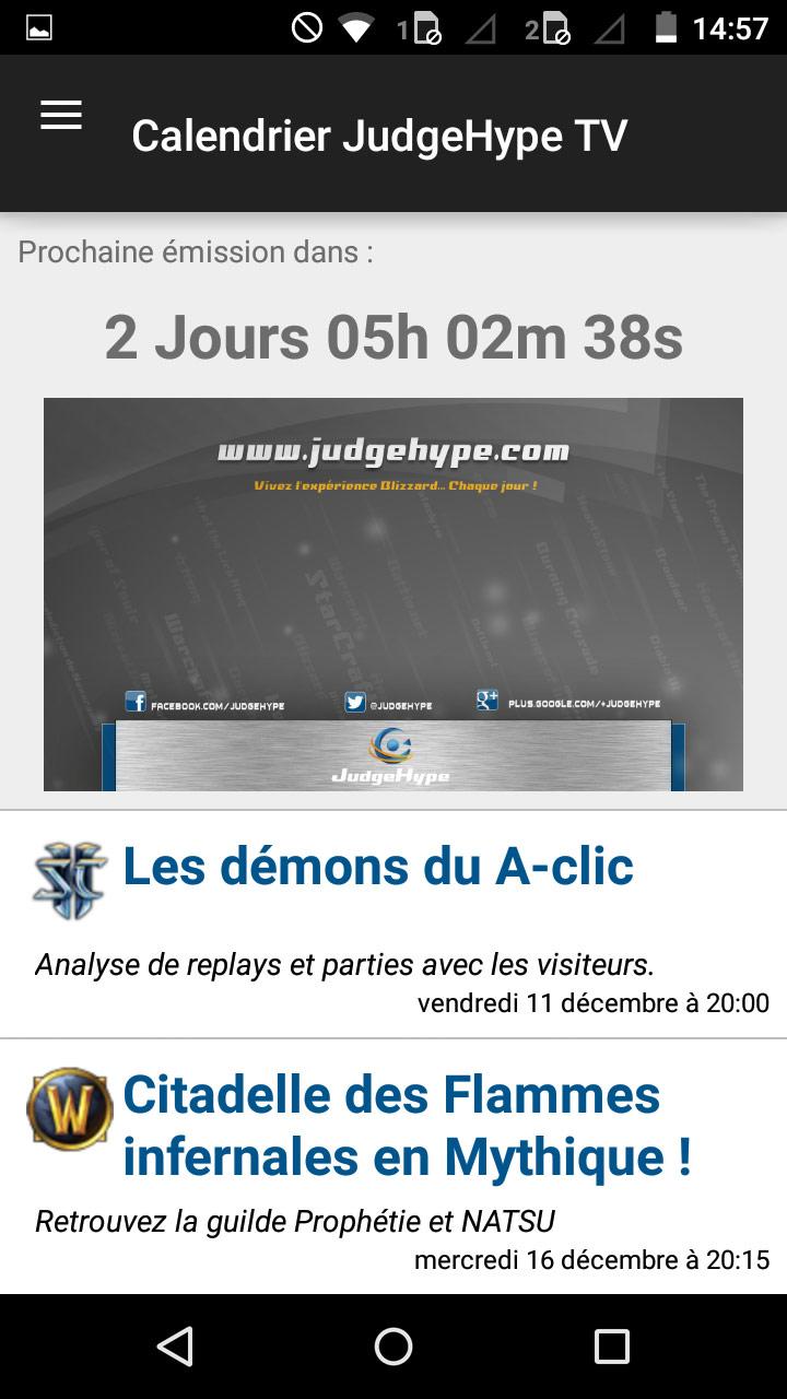 Screenshot de l'application JudgeHype sur un smartphone Android.