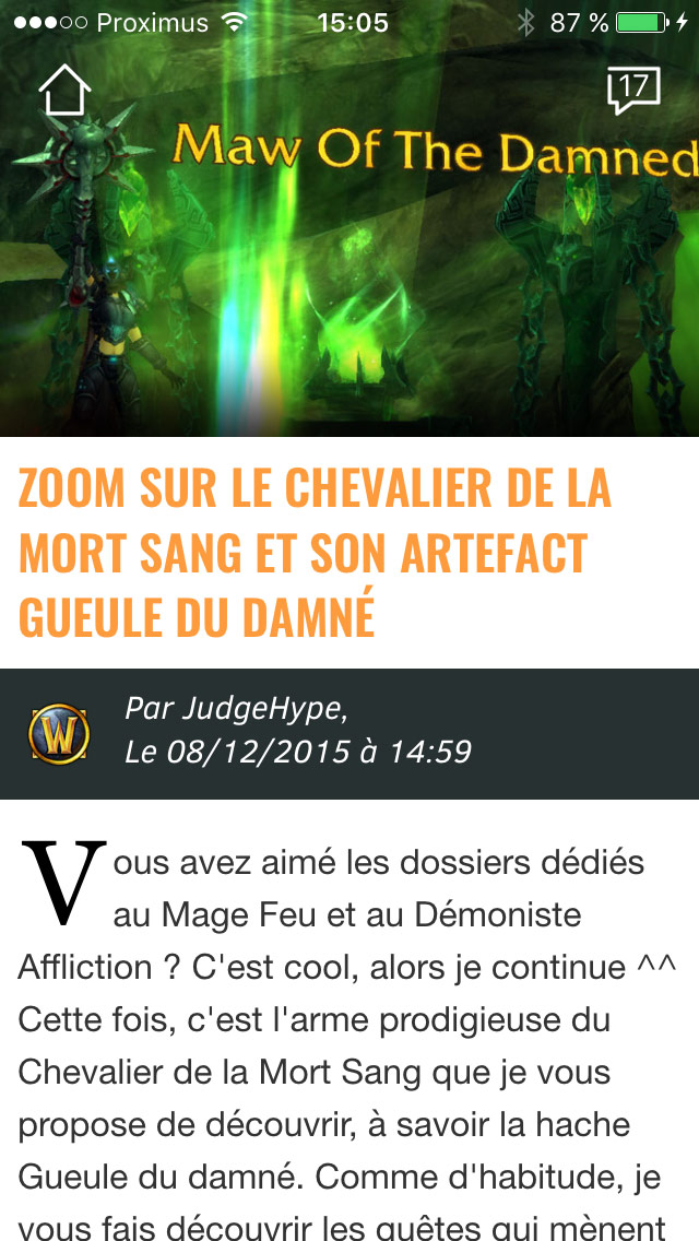 Screenshot de l'application JudgeHype sur un iPhone 5S.